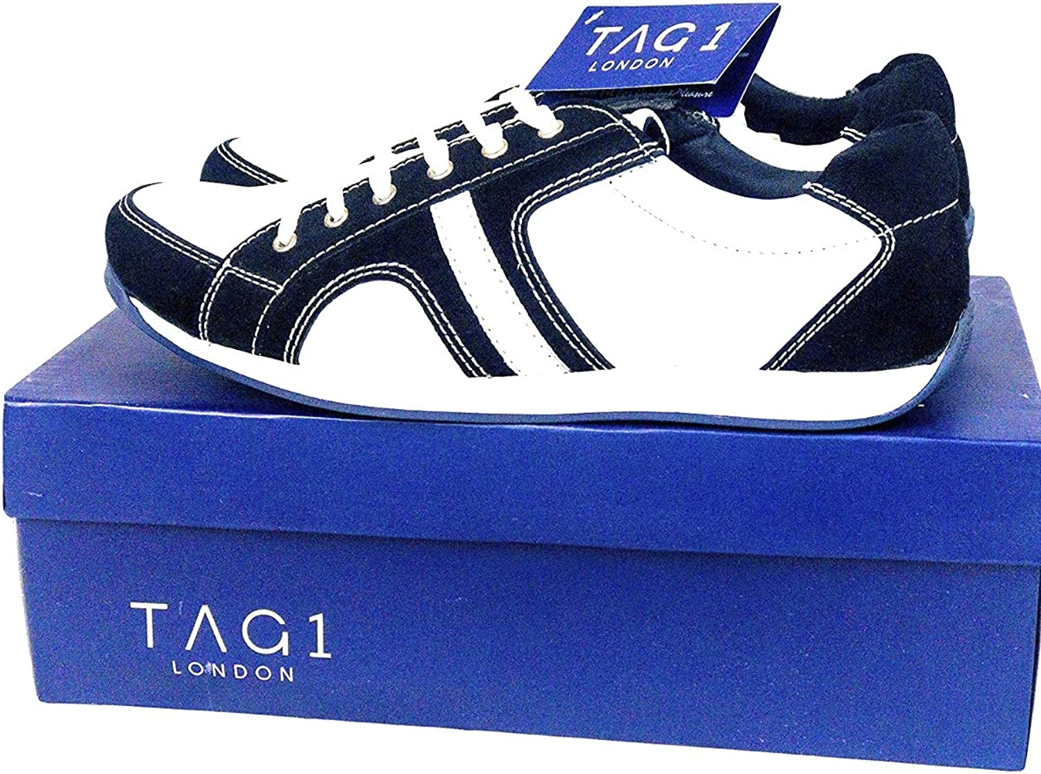 Tag1 London Mens Casual White bluee Leather Suede shoes