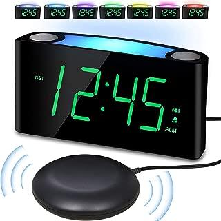 Vibrating Loud Alarm Clock with Bed Shaker for Heavy Sleeper Deaf Senior Kids, Large Number LED Display with Dimmer|Night Light|USB Phone Charger|12/24H, Easy to Set DigitalBedroom DeskTravel Clock