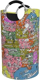 Panier à linge rond, USA Carte touristique Panier à linge Seau Sac à vêtements pliable Poubelles de 82 L pour dortoirs Org...