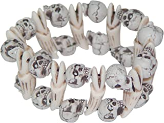 The Gothic Collection Skull and Bones Stretch Bracelet Halloween Costume Jewelry White