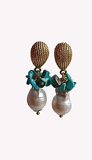 Orecchini Pendenti con Turchese e Perle Barocche