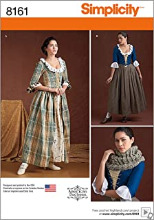 Simplicity 8161 Women's 18th Century Dress Historical Costume Sewing Pattern, Sizes 6-14