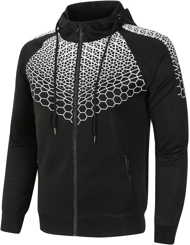 Men's Sweatshirts Full Zip Fashion Mens Athletic Hoodies Drawstring Sports Gym Pullover Long Sleeve Sport Sweatshirt