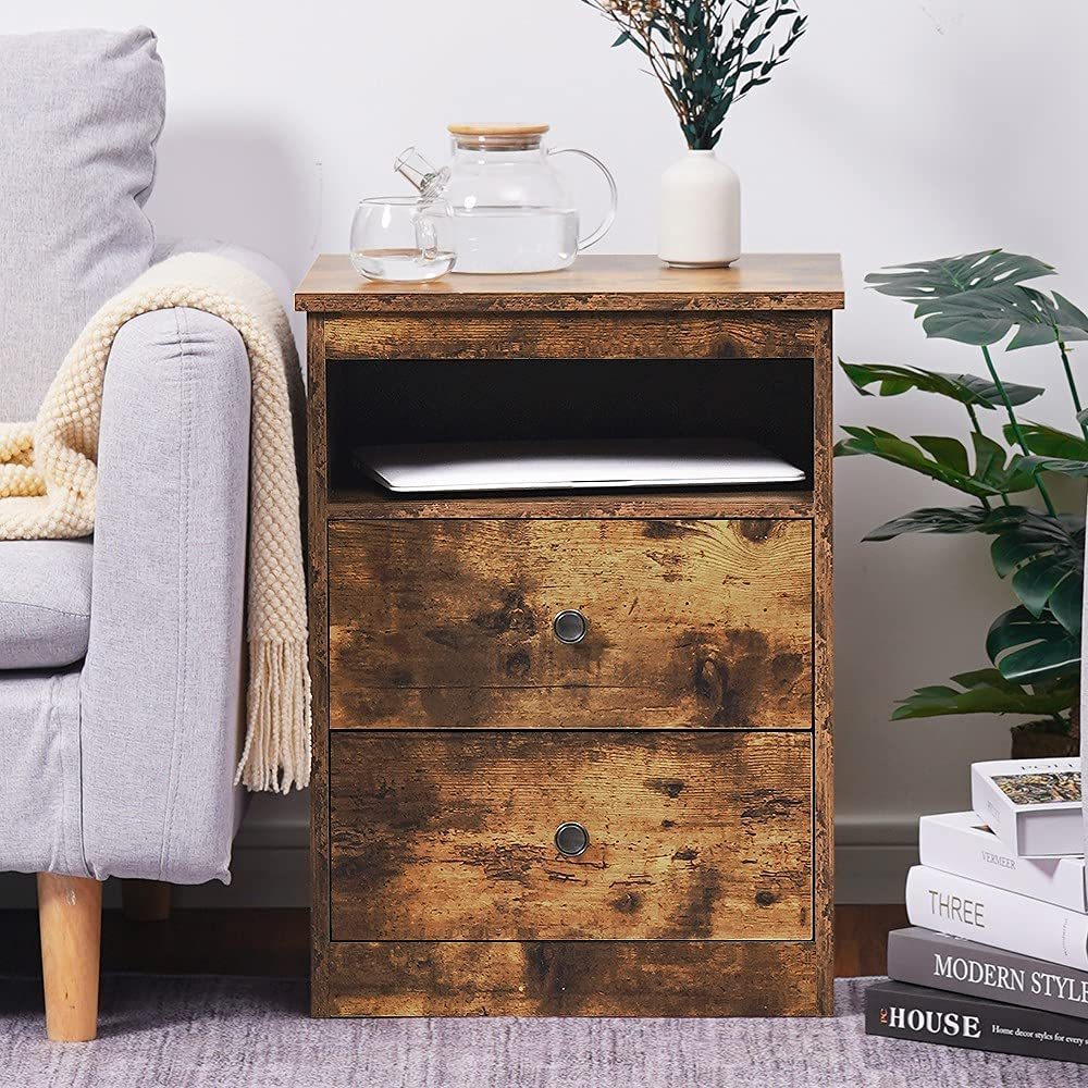 Selling and selling Reettic Nightstand with Max 66% OFF 2 Sliding Open 1 Compartment Drawers and