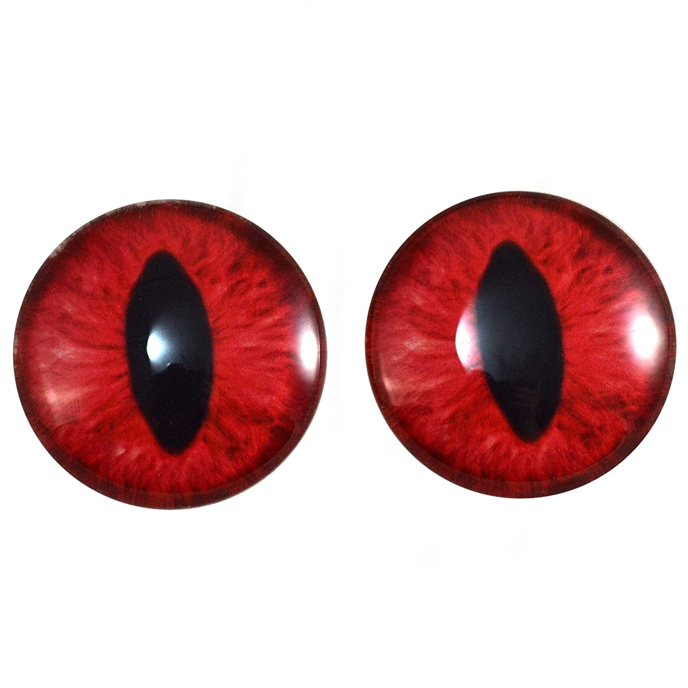 40mm Pair of Red Cat or Dragon Glass Eyes for Jewelry Making, Dolls, Sculptures, More