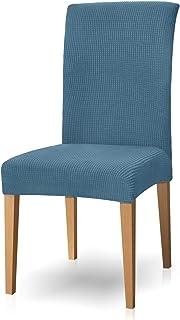 Subrtex - Funda para silla de comedor (jacquard, extensible, colorante, 2 piezas), color azul