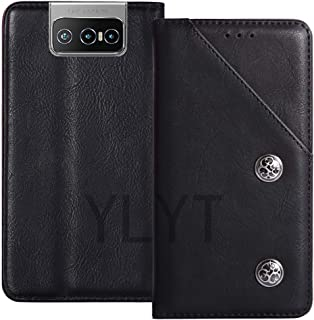 YLYT Business Shock - Black Flip Leather TPU Silicone Retro Cover with Stand Wallet Case For Asus Zenfone 7 Pro ZS671KS 6....