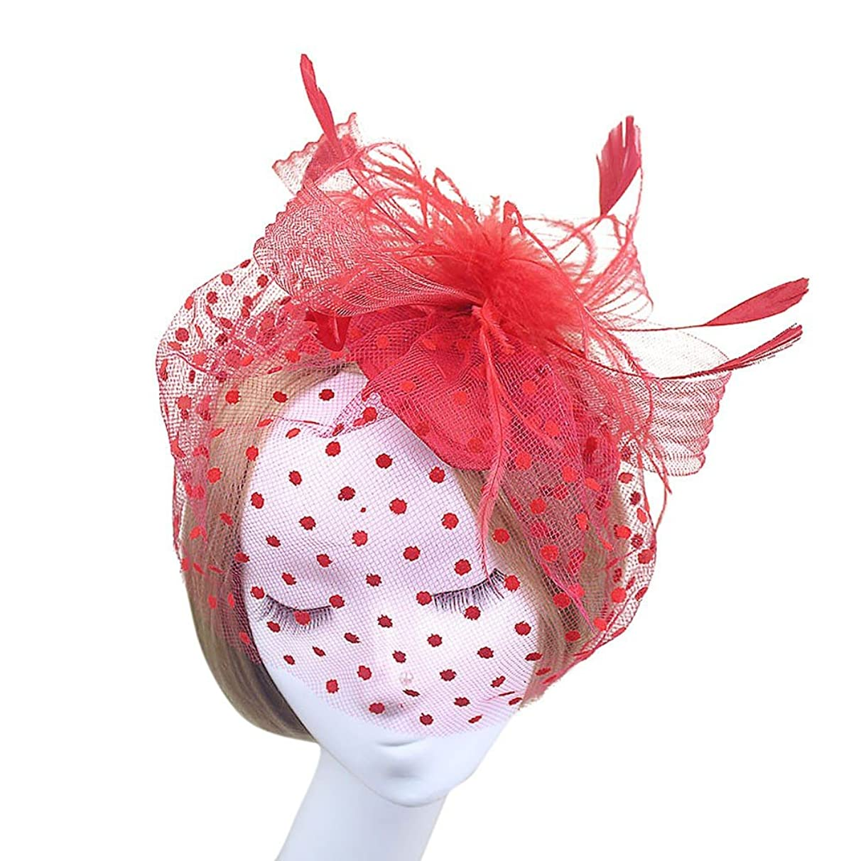 HANANei Fashion Wedding Women Fascinator Penny Ribbons and Feathers Party Mesh Hat