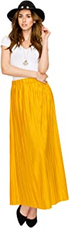 Made By Johnny Women's Elastic Band Ankle Length Pleated Maxi Skirt - Made in USA
