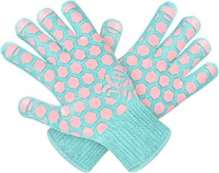 JH Heat Resistant Cooking Glove:EN407 Certified 932 �F, 2 Layers Silicone Coating, Turquoise Shell with Pink Coating, BBQ & Oven Mitts For Kitchen, Fireplace, Grilling, 1 Pair, Women Fits All