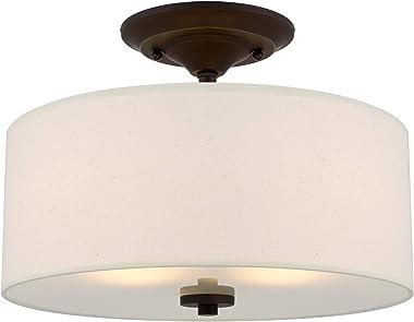 "Kira Home Addison 13"" 2-Light Semi-Flush Mount Ceiling Light Fixture with Off-White Fabric Drum Shade, Bronze Finish"