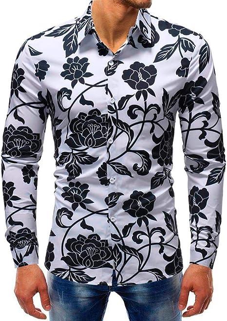 yuny Oud Printed blous Casual Long Sleeve Slim Camisetas Tops Camisa de hombre Slim Fit Negro de manga corta verde kurzarmhemden para Azul Rojo ...