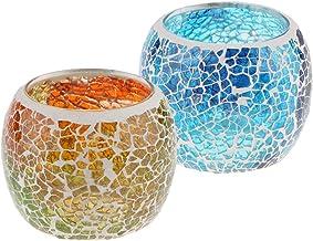 HOMYL 2/4-set Wedding Party Mosaic Amber Glass Candle Holder Tea Light Candelabra Bowl Cup Tabletop Centerpiece - 2-Set E