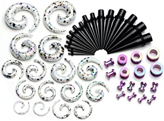 PiercingJ 48 Pieces Acrylic Gauge Kit Spiral Tapers Tunnels and Plugs 12G-1/2 Ear Stretching Starter - 24 Pairs