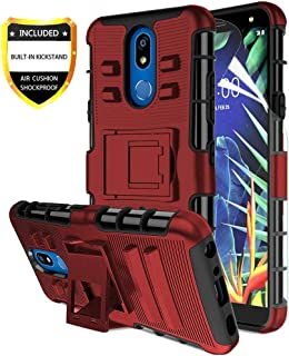 LG K40 Case,LG K12 Plus/LG X4 2019 Case with Screen Protector,Yuanming Built-in Kickstand Full-Body Shockproof PC Back &Soft TPU Inner Armor Swivel Belt Clip Holster Heavy Duty Protective Case Red