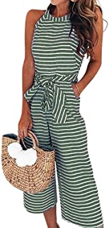 80e2c355935 AMiERY Womens Jumpsuits Striped Wide Leg Belted Zipper Spaghetti Strap  Capri Loose Sleeveless Jumpsuit Rompers