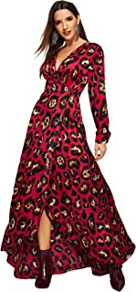 844673c0030 Milumia Women s Deep V Neck Bishop Sleeve Floral High Waist Dress Maxi Dress