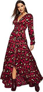 Women's Deep V Neck Bishop Sleeve Floral High Waist Dress Maxi Dress