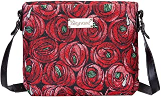 Charles Rennie Mackintosh Rose and Teardrop Art Nouveau Crossbody Bags for Women/Small Satchel Bag for Women by Signare / XB02-RMTD