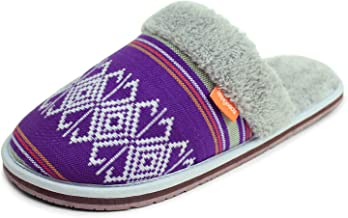 Feelgoodz Summit Mule Women's Slippers - Uber Comfortable and Soft Faux Sherpa Lining, Woven Cham Pa Fabric Upper, Soft Fo...