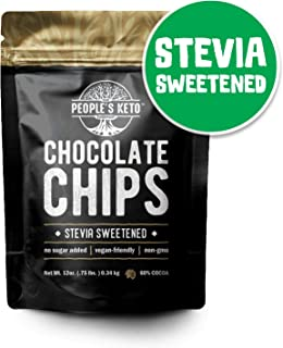 Sugar Free Large Chocolate Chips, Stevia Sweetened, 12 oz. Value Size, Non-GMO, Vegan, Keto, Low Carb, 60% Cocoa, All Natural, Baking Chips, Gluten Free, No Sugar Added, The People's Keto Company
