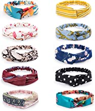 10 Pack Women's Headbands Boho Flower Printing Twisted Criss Cross Elastic Hair Band Accessories (Multi)