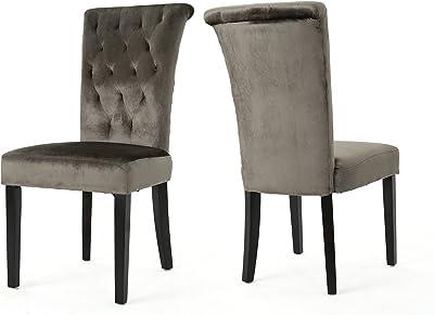 Christopher Knight Home Venetian Tufted Velvet Dining Chair, Grey / Dark Brown