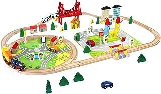 comprar comparacion Juego de Pista de Madera 82 PCS con Coches y Trenes Bloques de Construcción Juguete Regalo para Niños Niñas 3 4 5 6 Años