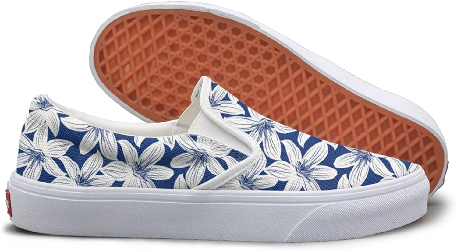 SEERTED Navy and White Tropical Hibiscus Floral Comfortable Sneakers for Standing All Day