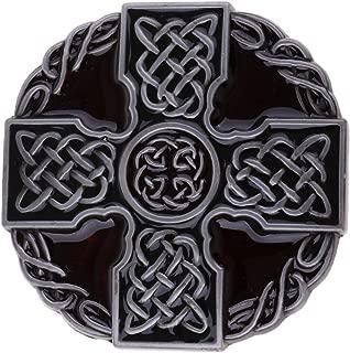 HOMYL Men's Round Celtic Cross Knot Braided Art Design Belt Buckle Jeans Accessories