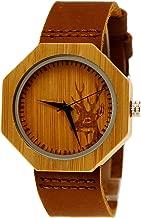 Henny Klein Germany Handmade Wooden Designer Wristwatch Ladies Eco Natural Wood Cowhide Leather Women Deer Watch Brown