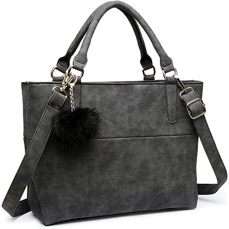 Miss Lulu Handtasche Damen Aktentasche Elegant PU-Leder Shopper Henkeltasche Crossbody-Tasche (Schwarz)