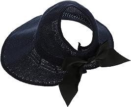 CLISPEED Foldable Women Sun Visors Wide Packable Roll Up Ponytail Beach Hat Straw Visor Sun Hats