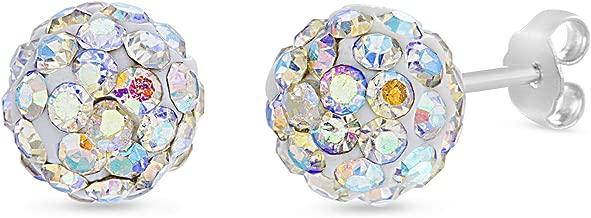 Devin Rose Sterling Silver Aurore Boreale 8mm Crystal Ball Stud Earrings for Women