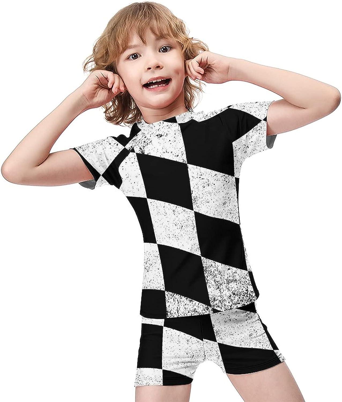 Yiaoflying Kids Boys 2 Piece Swim Set - Flag of Checkered Rashguard Swimsuit Trunks