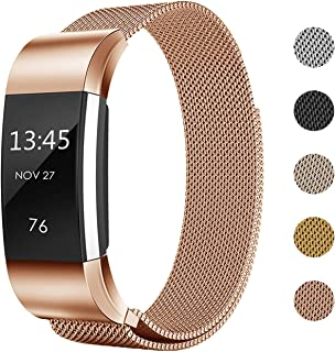 Keasy Replacement Bands Compatible with Fitbit Charge 2, Stainless Steel Metal Lock Replacement Wristband for Women Men (Rose Gold, Large (6.1-9 Inch))