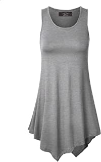 48cc267f9020d MBJ Womens Sleeveless Comfy Tunic Tank Top with Various Hem - Made in USA