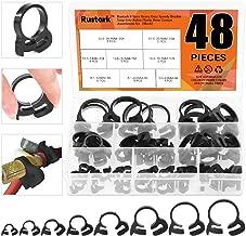 Rustark 48 Pcs 8 Sizes Hose Clamps Ratcheting Assortment Kit Heavy Duty Speedy Double Snap Grip Nylon Plastic Adjustable Fuel Line Clamp for Plumbing, Automotive and Mechanical Application (Black)