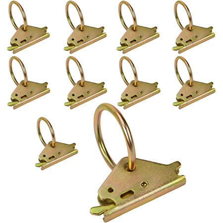 Eapele 10PCS Steel E-Track O Ring Tie-Down Anchors for E-Track TieDown System, Secure Cargo in Enclosed/Flatbed Trailers, Trucks (ETrack Rails Not Included)