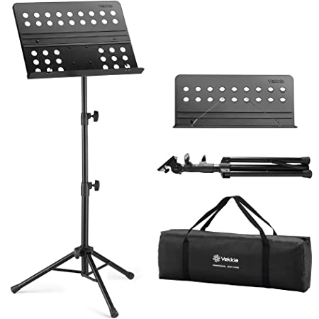 Vekkia Sheet Music Stand - Professional Portable Music Stand with Carrying Bag, Metal Super Sturdy for Laptop Projector Desktop Book Stand (Upgraded Version: more Sturdy and more Portable)