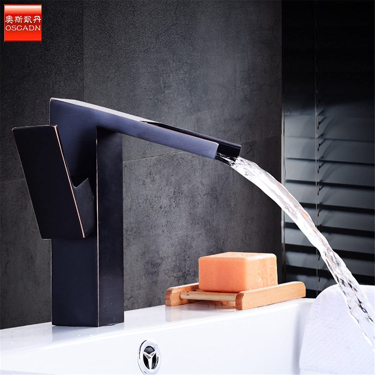 Fbict Copper hot and Cold Basin Faucet Black Bronze wash Basin Basin Faucet Heightening Waterfall Faucet for Kitchen Bathroom Faucet Bid Tap