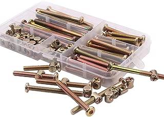 100PCS Crib Screws - Zinc Plated Hex Drive Socket Cap Furniture Barrel Screws Bolt Nuts Assortment Kit for Furniture Cots Beds Crib and Chairs- M6 x 40mm/50mm/60mm/70mm/80mm