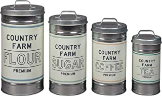 """Barnyard Designs Decorative Nesting Kitchen Canisters with Lids Galvanized Metal Rustic Vintage Farmhouse Country Decor for Flour Sugar Coffee Tea Storage (Set of 4) (Largest is 5.5"""" x 11.25"""" H)"""