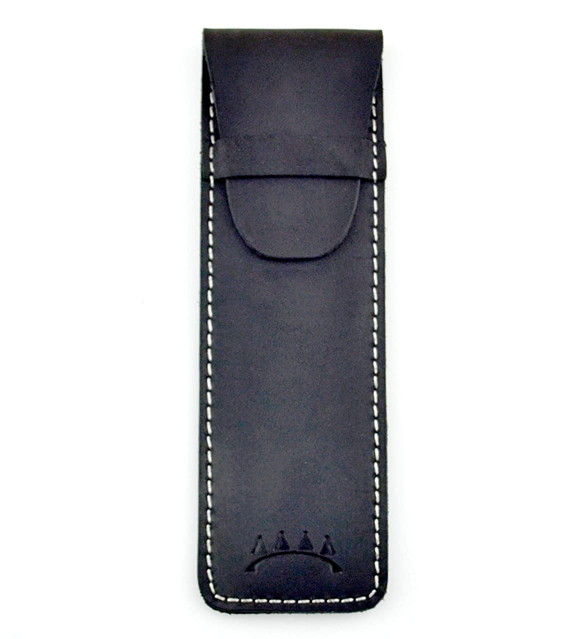 Genuine Leather Single Pen Case with Flap Close, Top Grain Leather (Black)