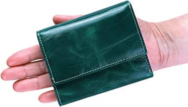 Itslife Slim Minimalist Front Pocket RFID Blocking Leather Wallets for Women (Peacock Green)