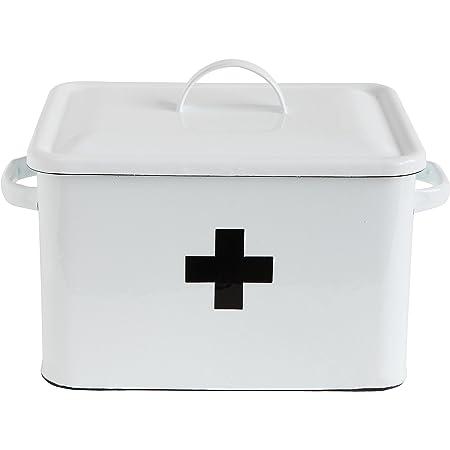 Renewed Creative Co-Op Distressed WhiteBREAD Box with Lid