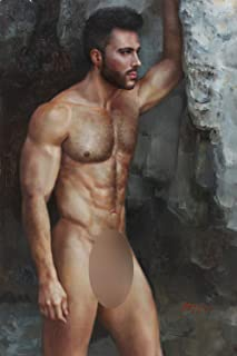 Art Prints Male Nude Painting Canvas Transfer from Original Oil Painting with Hand-Painted Detail Signed fine Art Gay Interest Giclee Print for Home Wall Art Decor (16