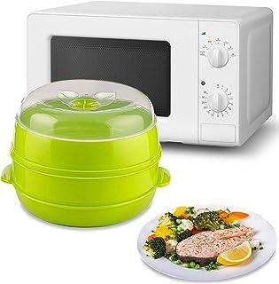 MovilCom® - Olla a vapor 2 niveles Microvap | cocinar al vapor | vaporera microondas - verde