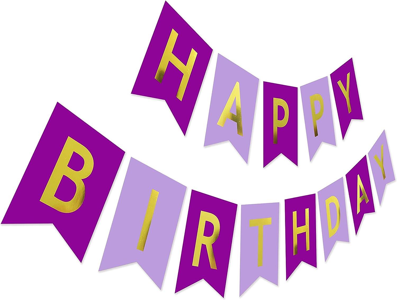Purple 5 Phoenix Mall popular Birthday Banner Violet Glitter Gold Happy Sign