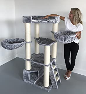 comprar comparacion Rascador para gatos grandes Corner Coon Gris claro arbol xxl maine coon gato gigante sisal muebles sofa casa escalador cas...